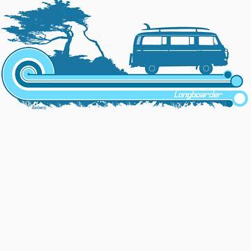 'Longboard' Surf Retro Design in Teal & Aqua by Bootee