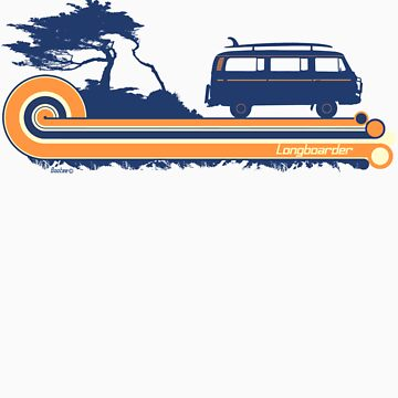 'Longboard' Surf Retro Design in Navy & Orange by Bootee