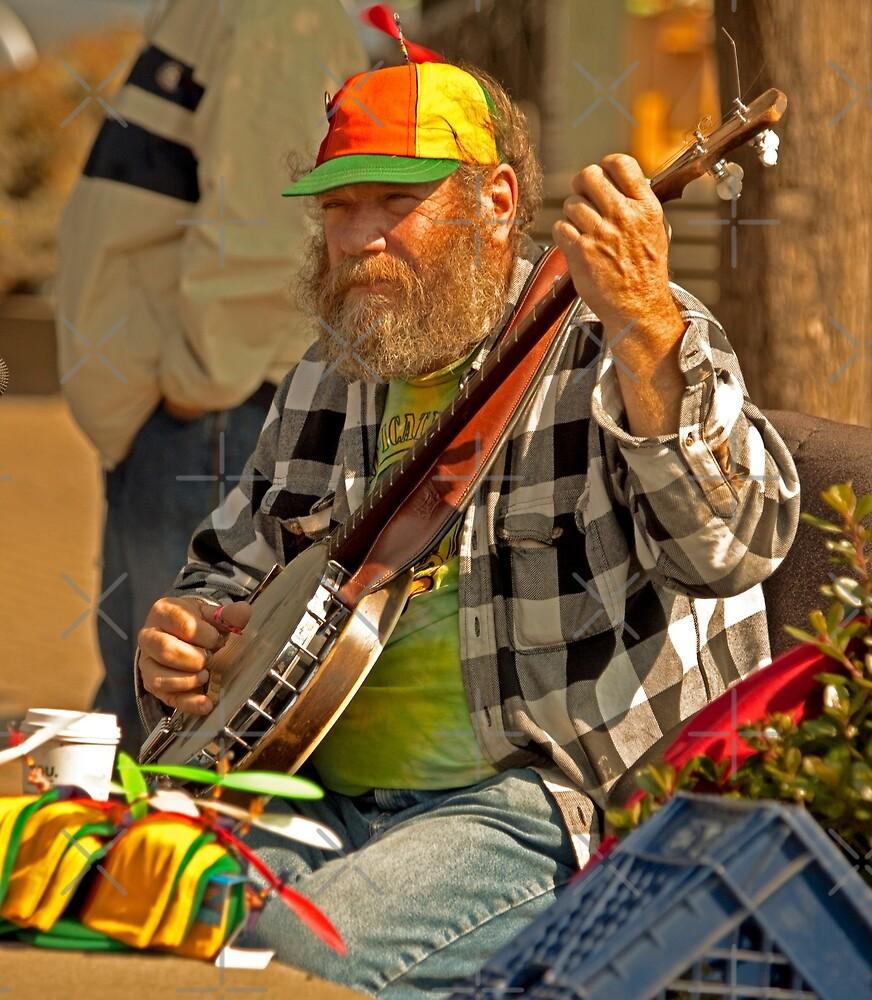 San Francisco Street Musician with Banjo  by Buckwhite