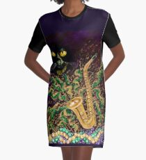 Boo Cat Mardi Gras Graphic T-Shirt Dress