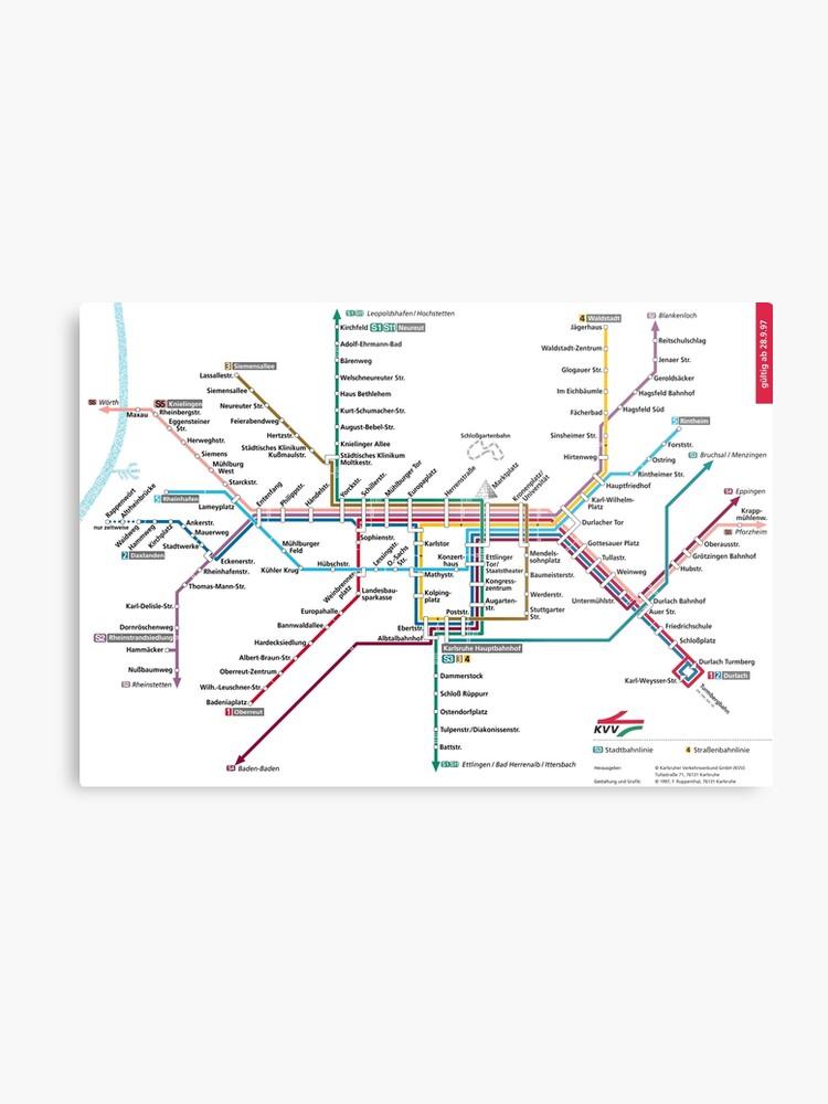 Karlsruhe Karte.Karlsruhe U Bahn U Bahn S Bahn Karte Deutschland Metallbild