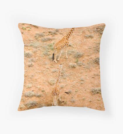 Giraffe couple Throw Pillow