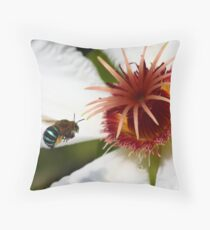 Bumble Bee in Blue - Featured Throw Pillow