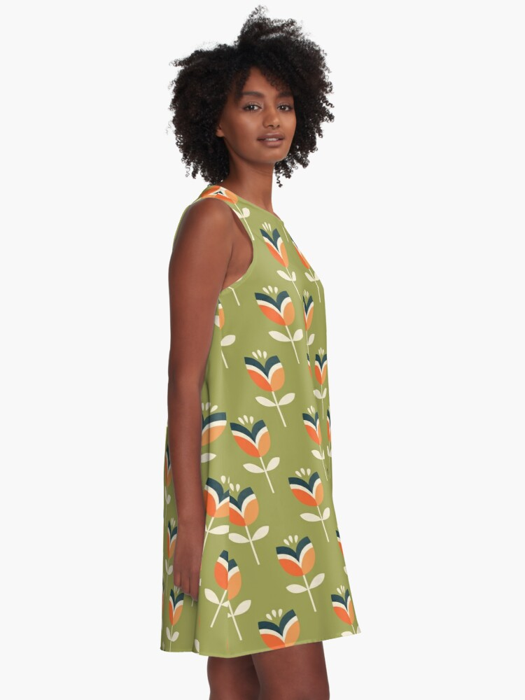 Alternate view of Retro Tulip - Orange and Olive Green A-Line Dress