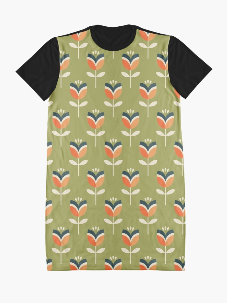 Alternate view of Retro Tulip - Orange and Olive Green Graphic T-Shirt Dress