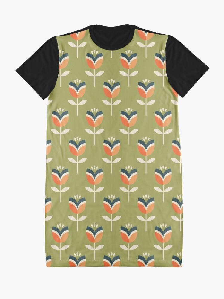 Alternative Ansicht von Retro Tulpe - Orange und Olivgrün T-Shirt Kleid