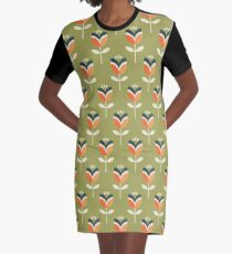 Retro Tulip - Orange and Olive Green Graphic T-Shirt Dress