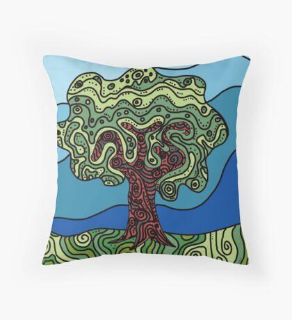 Earth Tree Throw Pillow