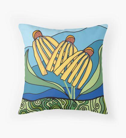 Earth Coneflower Throw Pillow