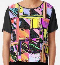 Abstract Color Squares Chiffon Top