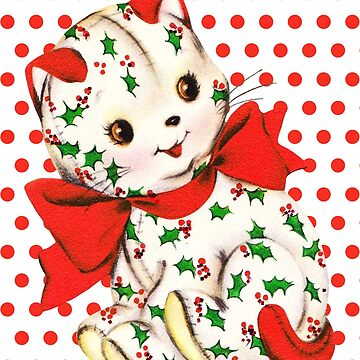 """Christmas Kitten"" - Mistletoe, Holly, Berries, Cat, Kitty, Kitties, Red, Green, Holiday, Xmas, Merry, Happy, Sweet, Vintage, Retro, Animal, Bow,  by CanisPicta"