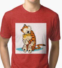 Calvin and Hobbes Hugging Tri-blend T-Shirt