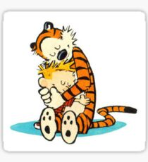 Calvin and Hobbes Hugging Sticker