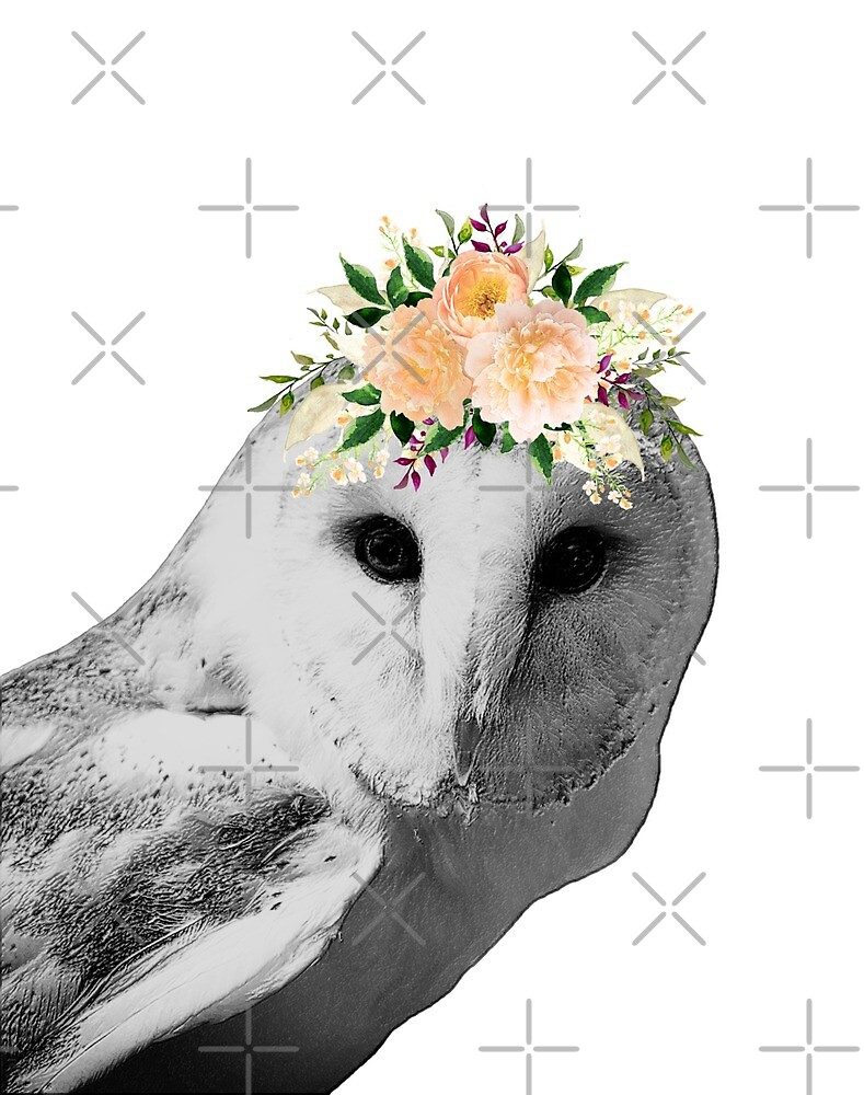 Hoos Pretty Black White Owl With Peach Flower Crown By