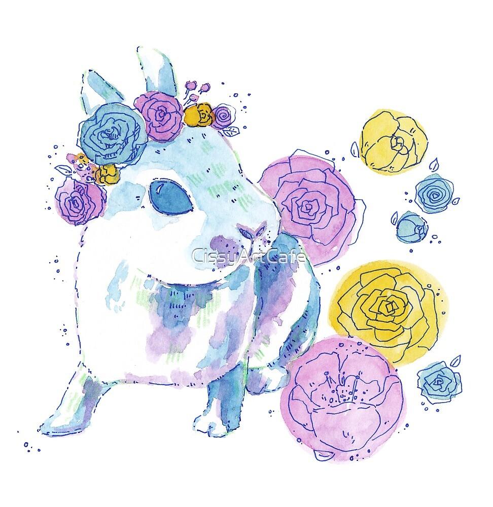 Watercolor Floral Bunny by CissyArtCafe