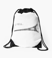 I Fell Tower - Funny French pun Drawstring Bag