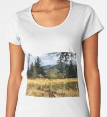 East Pasture, Mountains and Trees Women's Premium T-Shirt