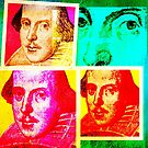 SIR WILLIAM SHAKESPEARE - COLOURFUL, 4-UP POP-ART STYLE COLLAGE by Clifford Hayes