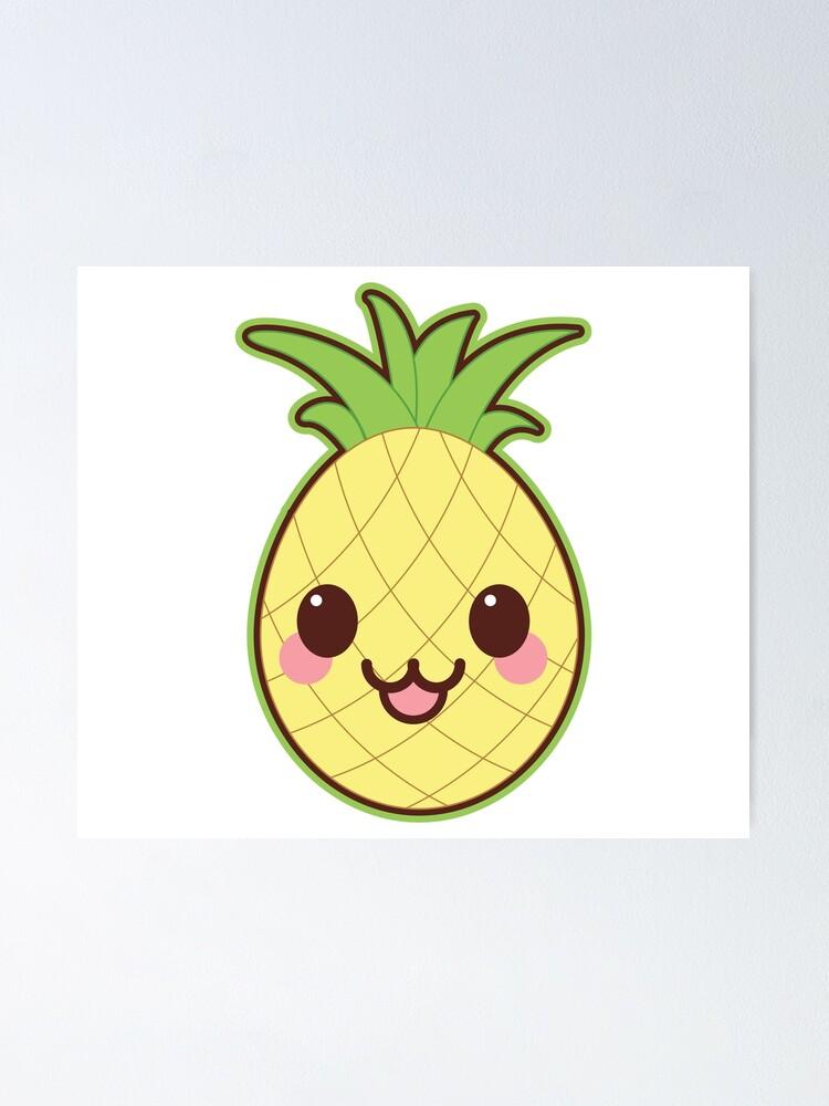 Kawaii Cute Pineapple Sticker Poster