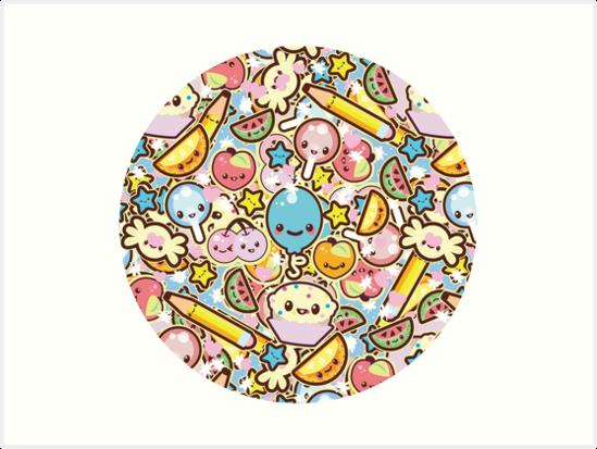 Chibi Kawaii Circle Of Cute Things Sticker Amazoncom Kawaii Circle Of Cute Things Sticker