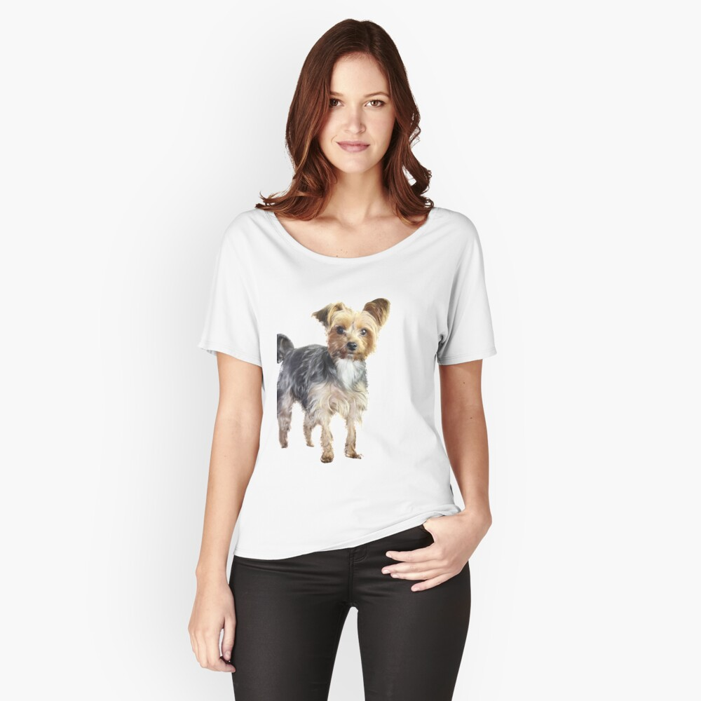 Yorkie on blue Women's Relaxed Fit T-Shirt Front