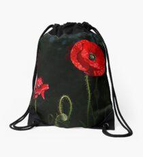 Red poppy 1 Drawstring Bag