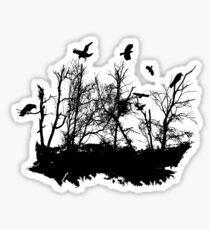 Bog landscape Moorland landscape with black ravens Sticker