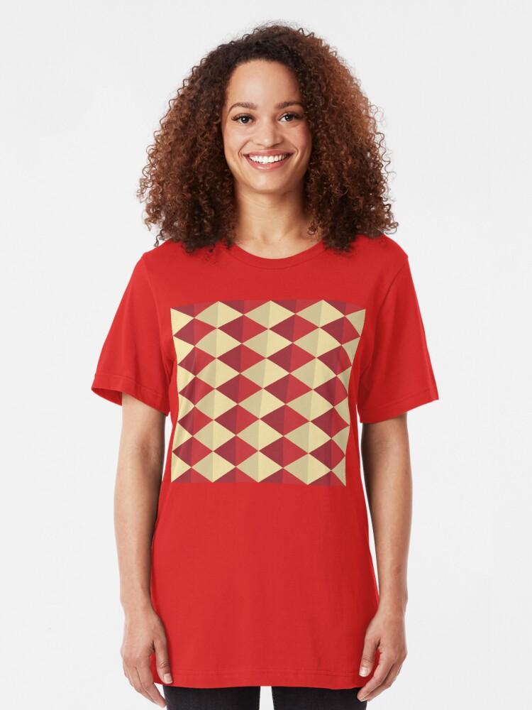 Alternate view of Geometric Pattern: Split Diamond: Red Slim Fit T-Shirt