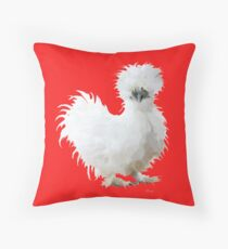Silly White Silkie Chicken Throw Pillow