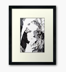 Watercolor Stencil Portrait Art | Stencil Painting Of A Smoking Girl Framed Print