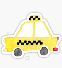 Watercolor yellow toy car taxi  Sticker