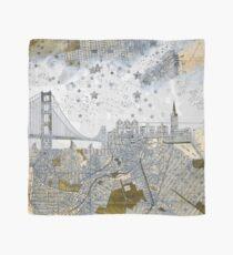 San Francisco skyline old map Scarf