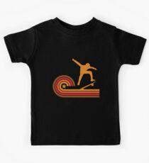 Retro Style Skateboarder Vintage Skateboarding Kids T-Shirt