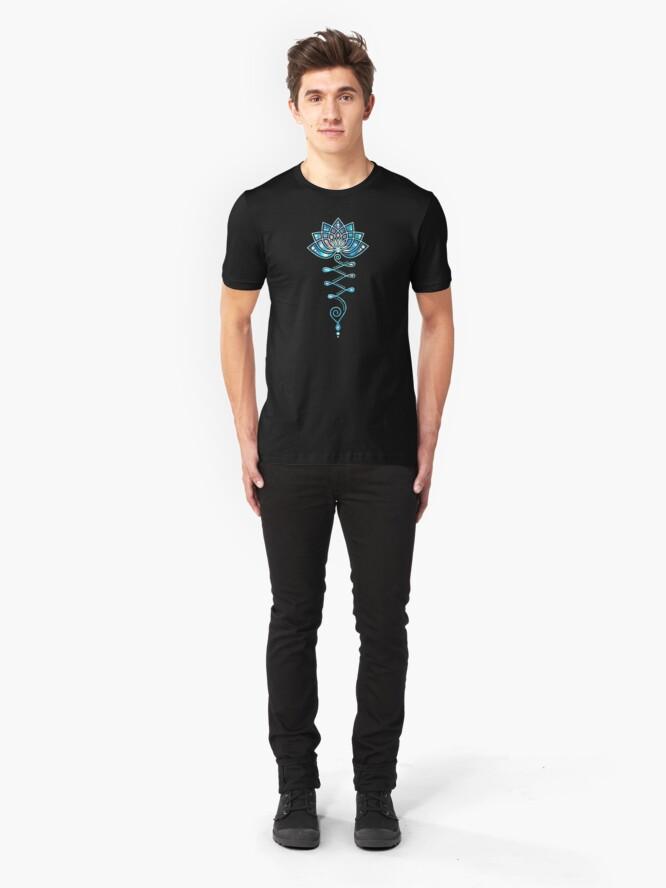 Alternate view of Lotus Flower Yoga Symbol Tattoo Galaxy Style Slim Fit T-Shirt