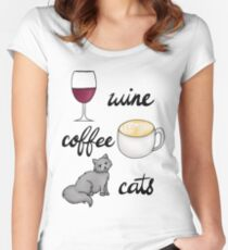 Camiseta entallada de cuello redondo Vino Café Gatos
