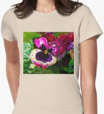 IMPRESSIONISTIC PANSEY Womens Fitted T-Shirt