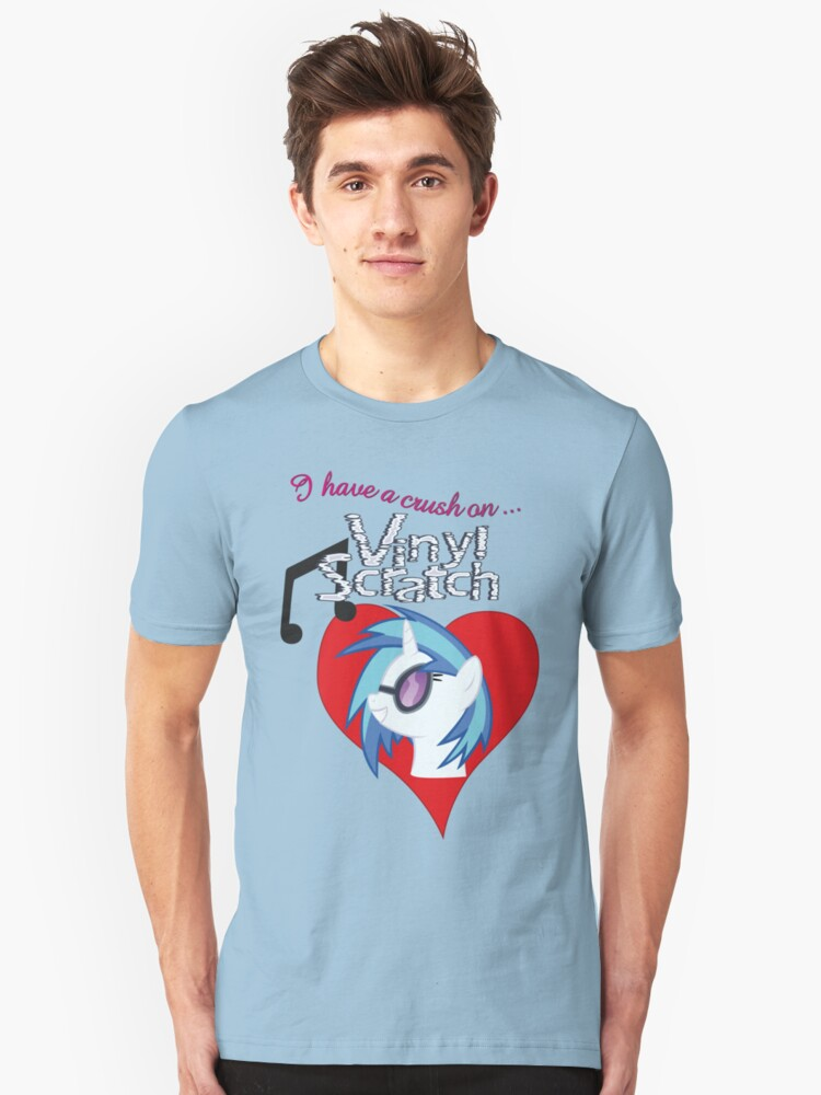 I have a crush on... Vinyl Scratch - with text Unisex T-Shirt Front
