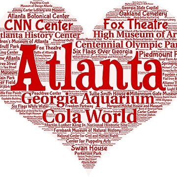 Heart of Atlanta Red Heart Word Cloud Products by Mel747