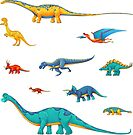 Dinosaur Sticker Collection - To Scale! by Rowena Aitken