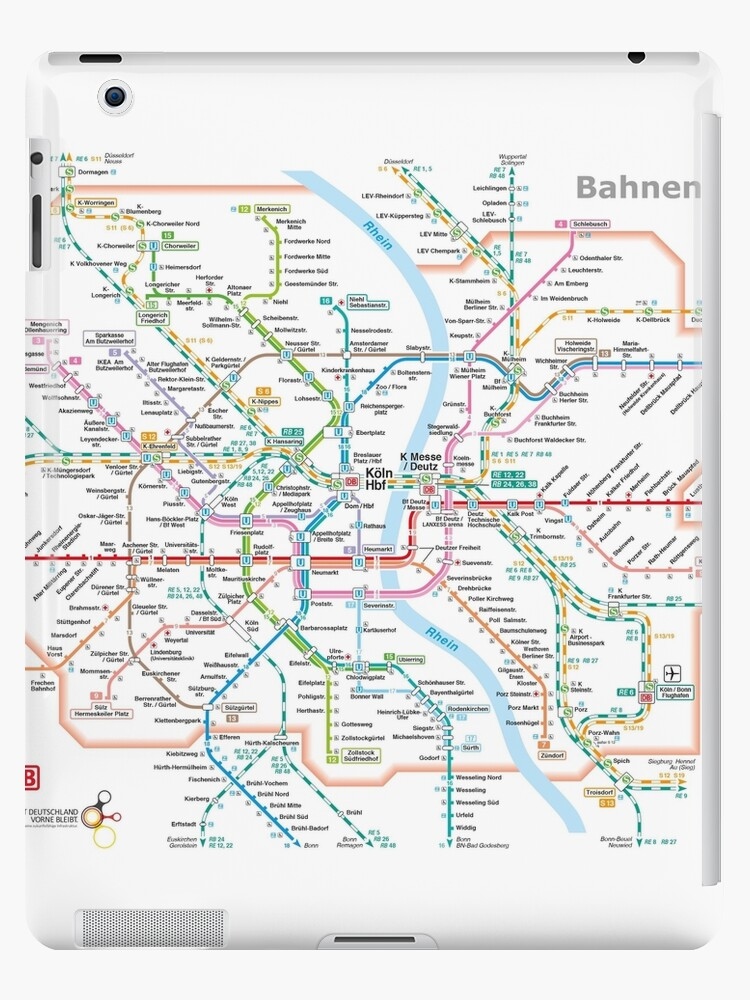 \'Cologne (Köln) - Metro / Subway / u-bahn / s-bahn Map - Germany\' iPad  Case/Skin by superfunky