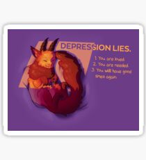 """DEPRESSION LIES"" Snuggly Gargoyle Sticker"