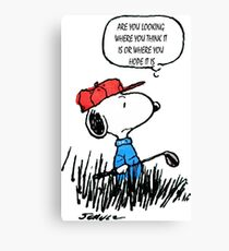 Snoopy Peanuts Golf Funny  Canvas Print
