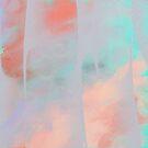 Gray, Aqua and Coral Abstract by CheriesArt