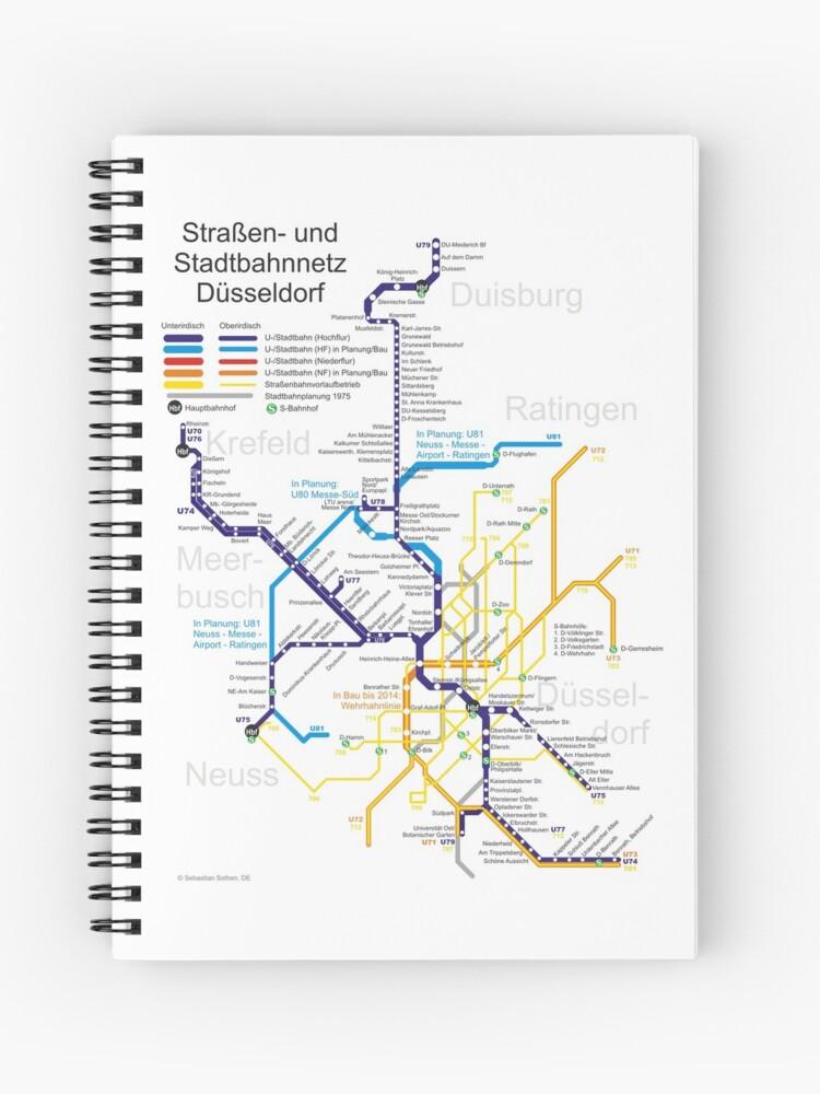 Dusseldorf Subway Map From Airport.Dusseldorf Metro Subway U Bahn S Bahn Map Germany Spiral Notebook