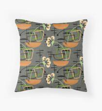 Gray Mid-Century Modern Houseplants, Atomic Patterns Throw Pillow