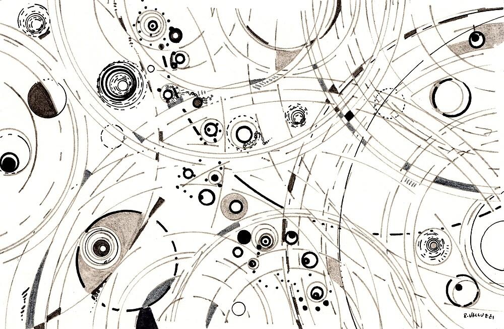 Diffracting Around - ink drawing by Regina Valluzzi