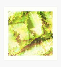 Fragmented Green Abstract Artwork Art Print