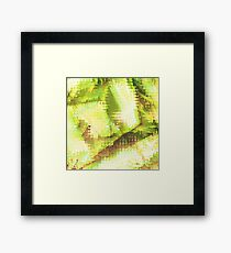 Fragmented Green Abstract Artwork Framed Print