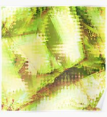 Fragmented Green Abstract Artwork Poster