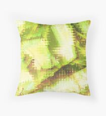 Fragmented Green Abstract Artwork Throw Pillow